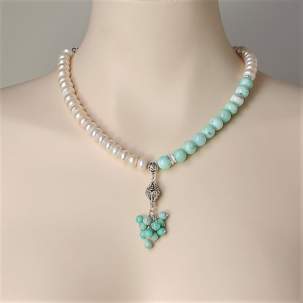 AMAZONITE GEMSTONE AND PEARL TASSEL HANDMADE SILVER NECKLACE