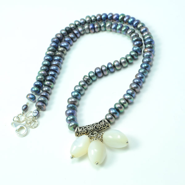 SHELL AND PEARL STERLING SILVER HANDMADE NECKLACE