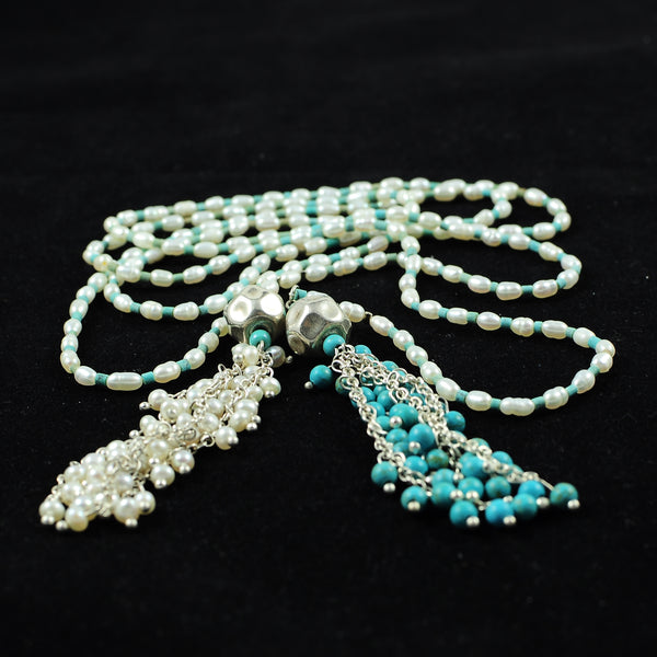 TURQUOISE AND PEARL LONGSILVER HANDMADE NECKLACE