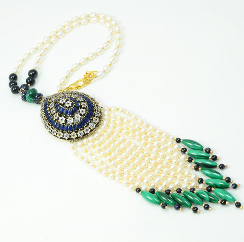 MALACHITE AND PEARL STERLING SILVER STATEMENT NECKLACE