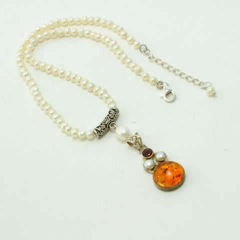 AMBER AND PEARL STERLING SILVER HANDMADE NECKLACE