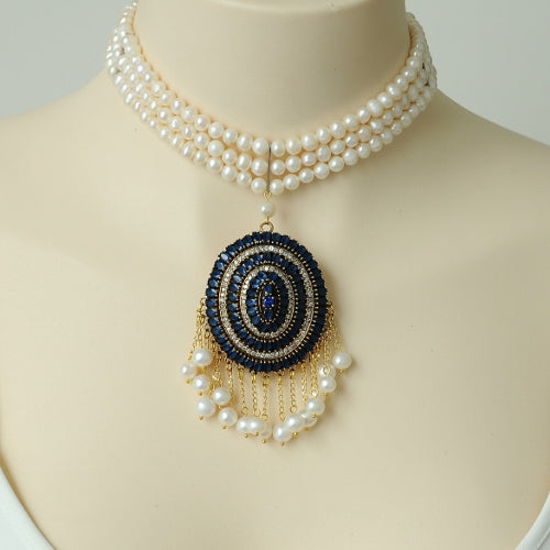 DARK BLUE RHINESTONE AND PEARL STERLING SILVER HANDMADE NECKLACE
