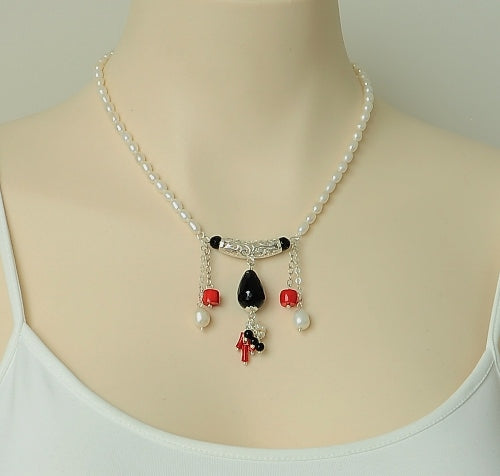 ONYX PEARL CORAL STERLING SILVER HANDMADE NECKLACE