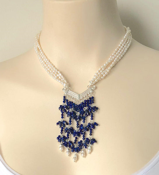 LAPIS LAZULI AND PEARL STERLING SILVER HANDMADE NECKLACE