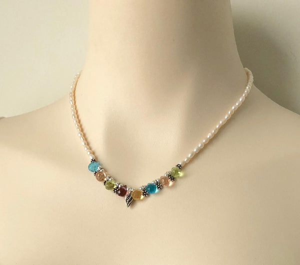 MULTI COLOUR SMALL QUARTZ AND PEARL STERLING SILVER HANDMADE NECKACE