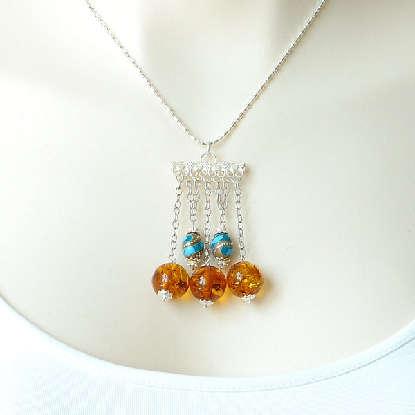 AMBER GEMSTONE AND WOOD TURQUOISE BEAD HANDMADE SILVER NECKLACE