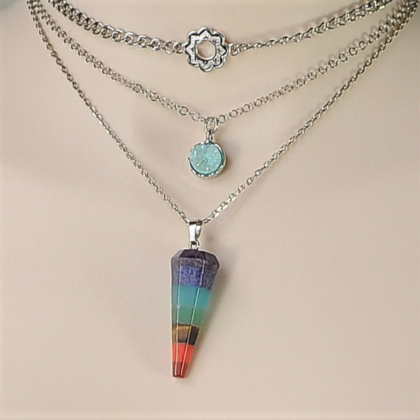 CHAKRA GEMSTONE AND RAW BLUE QUARTZ TRIPLE CHAIN HANDMADE SILVER NECKLACE