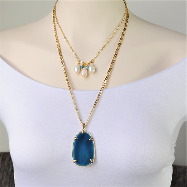 DOUBLE CHAIN LARGE PEARL AND BLUE APATITE GEMSTONE HANDMADE GOLD NECKLACE