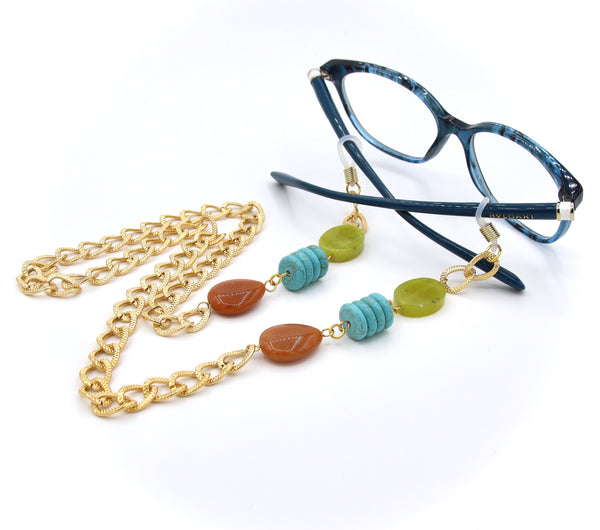 JADE TURQUOISE AND AVENTURINE GEMSTONE EYEGLASS CHAIN