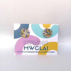 Stiwdio Mwclai - Lilac Pink White Yellow Swirl Stud Earrings