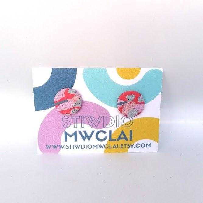 Stiwdio Mwclai - Red Pink Stud Earrings
