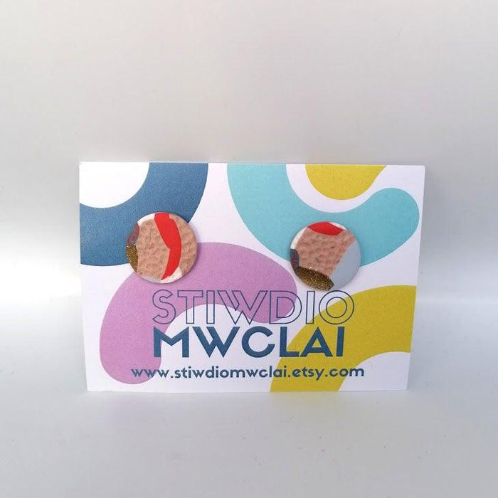 Stiwdio Mwclai - Gold Red Pink Stud Earrings