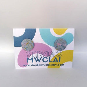 Stiwdio Mwclai - Multicoloured Swirl Stud Earrings