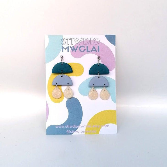 Stiwdio Mwclai - Blue/Pink Raindrop Earrings