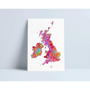 Print A4 - Map of UK & Ireland
