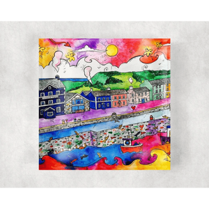 Glass Coaster - Aberaeron Summer Harbour - Siop y Pethe
