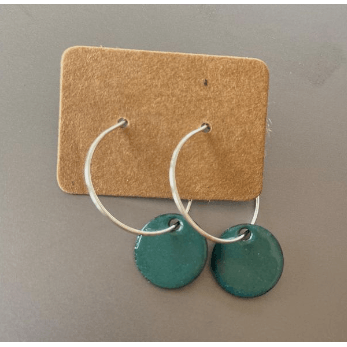 Eli-Gant Jewellery - Dark Green Circle Hoop Earrings