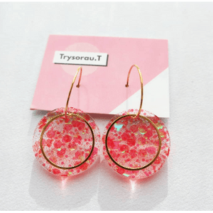 Mermaid Pink Circle Hoop Earrings