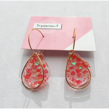 Mermaid Pink Drop Hoop Earrings