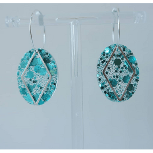 Blue Glitter Diamond Shape Hoop Earrings