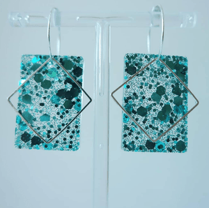 Blue Glitter Rectangle Hoop Earrings