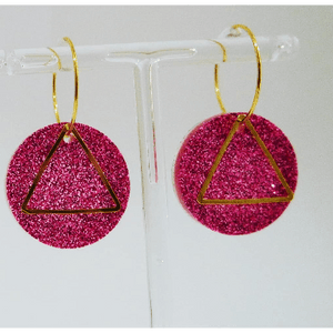 Fine Pink Circles on Gold Hoop Earrings