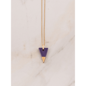 SPEARHEAD NECKLACE. PURPLE, YELLOW GOLD.