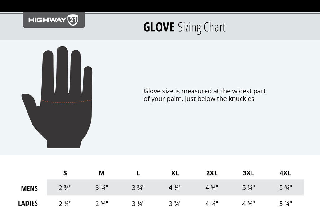 Highway 21 Gloves sizing chart