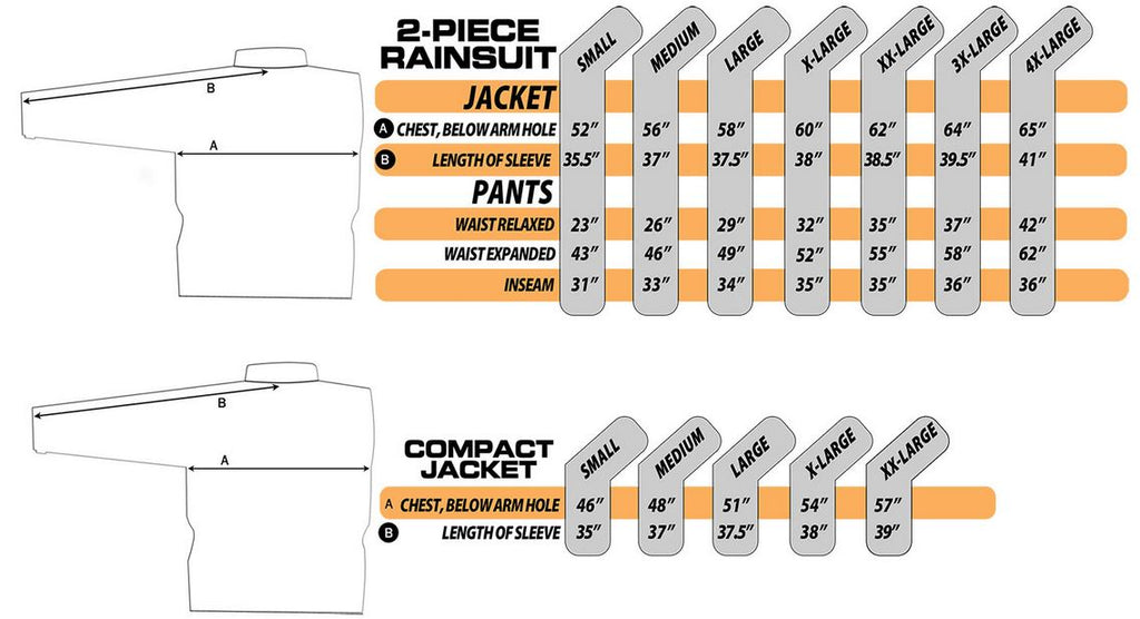 Nelson rigg apparel sizing chart