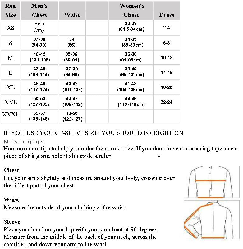 Warm & safe layer and base size chart