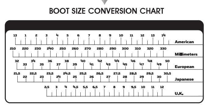 Fly racing boot and shoe size conversion chart