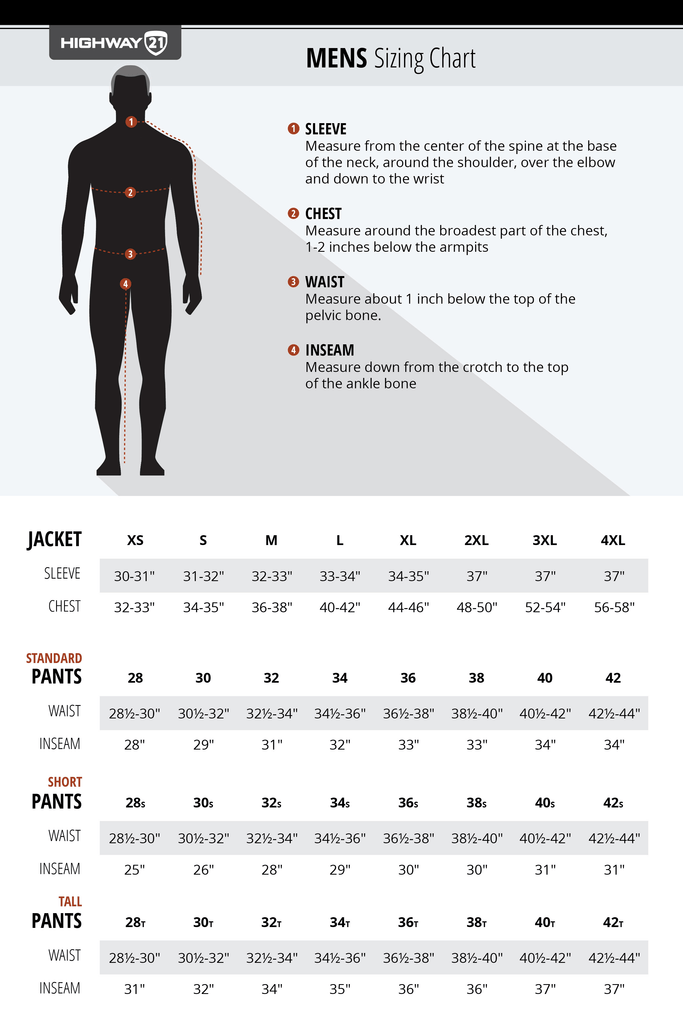 Highway 21 mens jacket and pants sizing chart