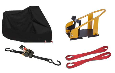 Motorcycle towing, storage, ratchet straps, Tie Downs, Motorcycle Covers, Trailer hitches