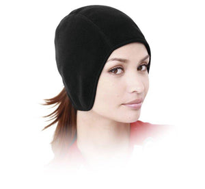Tucker Rocky Beanie OS / Black Fleece Pony Tail Skull Cap by Schampa SKLCP001-02