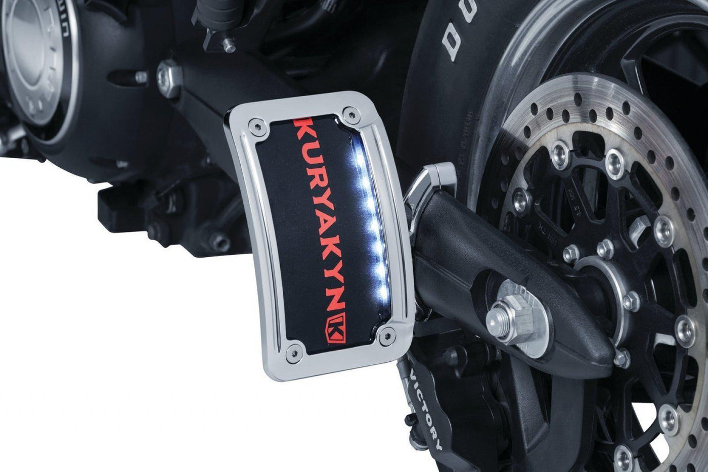 Vertical Side Mount Chrome Kuryakyn 3190 Motorcycle Accent Accessory Nova Curved License Plate Holder and Frame with Wraparound LED Illumination Lighting