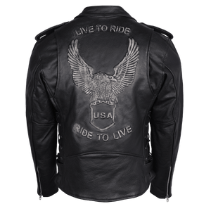 Vance Leathers Jacket Men's Eagle Embossed Live To Ride by Vance Leathers