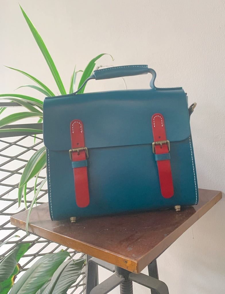 Sac Vintage Cuir Bleu Cartable En CrxBoed