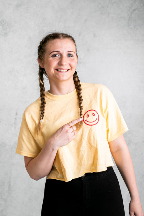 Good Vibes Only Cropped T-Shirt - Summer Yellow