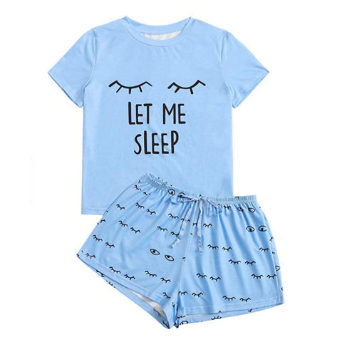 Let Me Sleep Women's Tee and Shorts Pajama Set