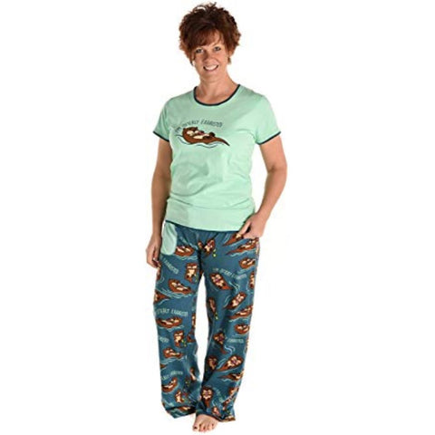 Image of Women's Fitted Pajama Set and Separates Otterly Exhausted