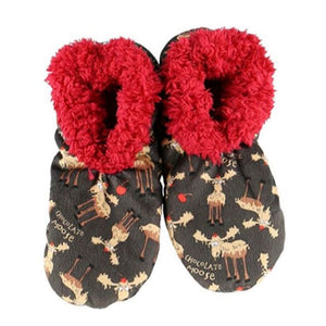 Chocolate Moose Womens Plush Fuzzy Feet Slippers