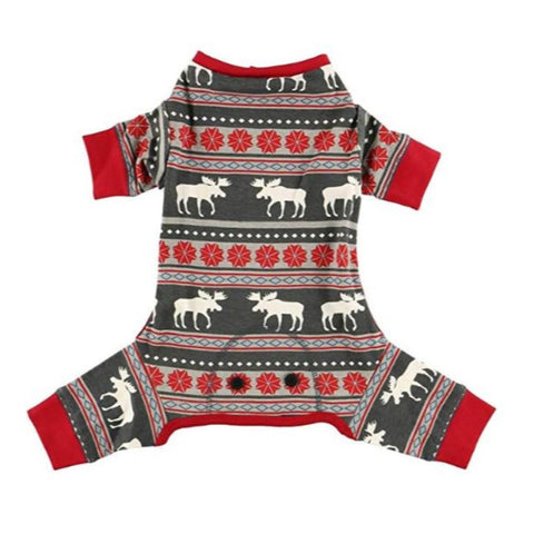 Family Matching Christmas Pajamas Moose Fair Isle Dog Onsie