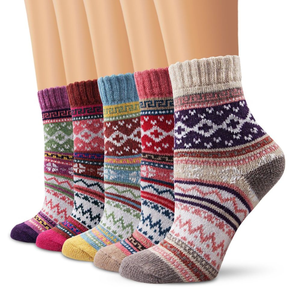 Winter Women's Vintage Style Knit Wool Socks 5 Pack