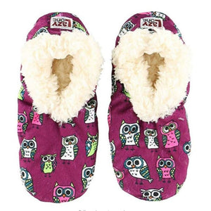 Womens Plush Fuzzy Feet Slippers Night Owl Fuzzy Feet