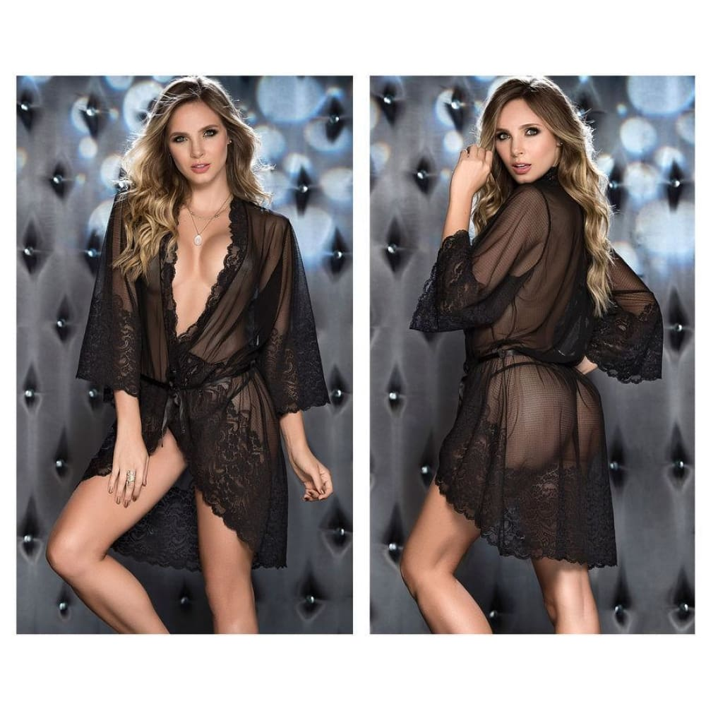 Lace Robe with Matching G-String - Black / S - Lingerie