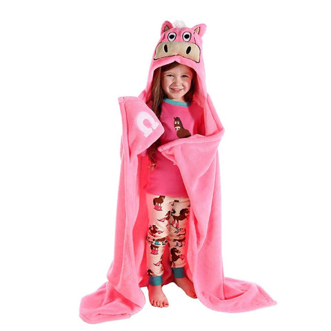 Image of Children's Hooded Animal Critter Blankets