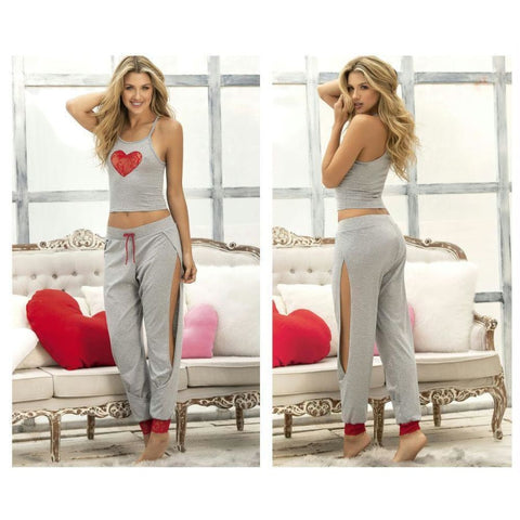 Two Piece Top and Pants Sleepwear Set - Gray / L - Lingerie