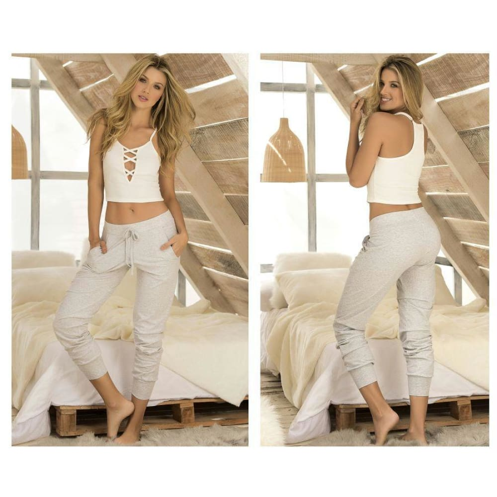 Two Piece Top and Pants Sleepwear Set - Ivory-Gray / XL - Lingerie