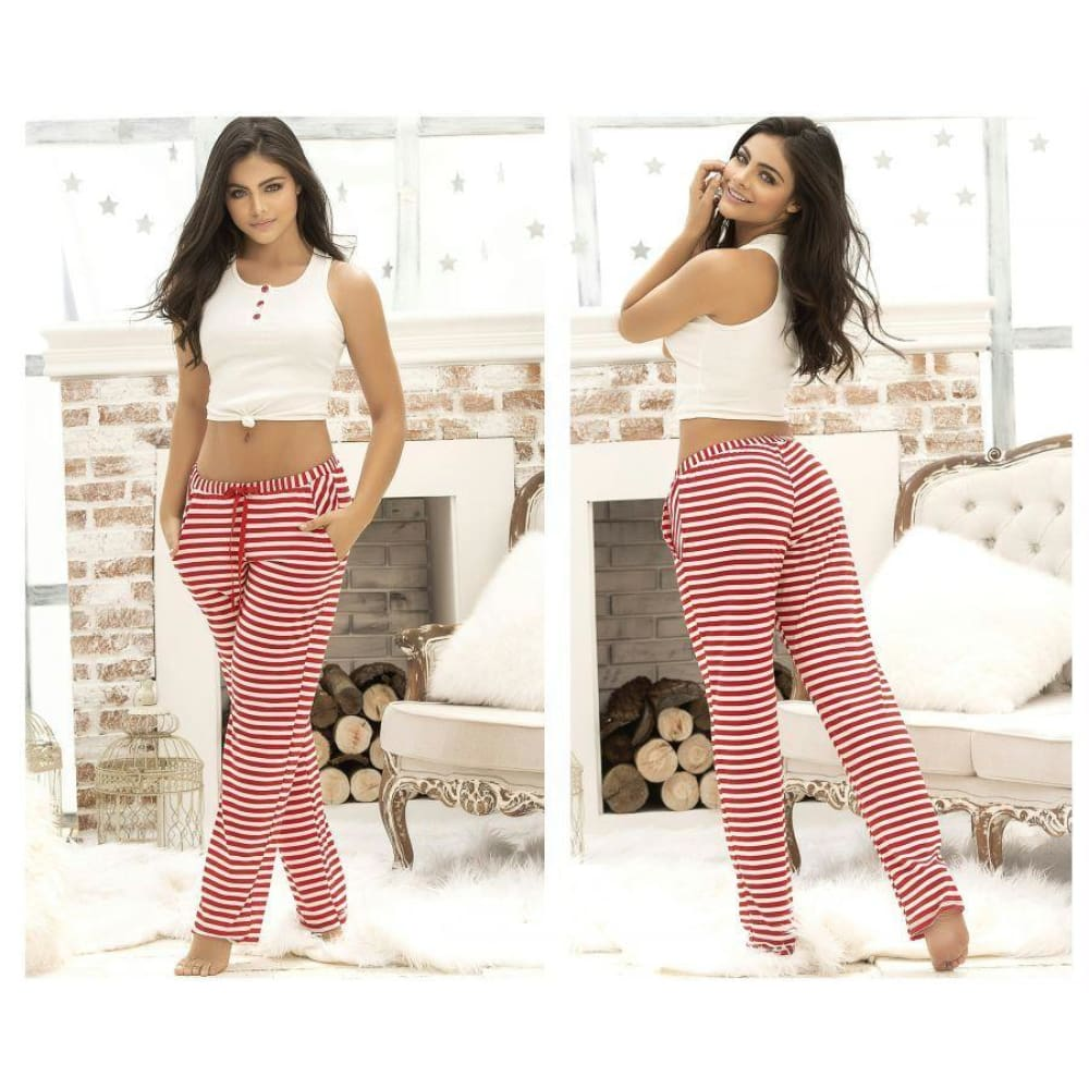 Two Piece Top and Pants Sleepwear Set - Ivory-Red / S - Lingerie
