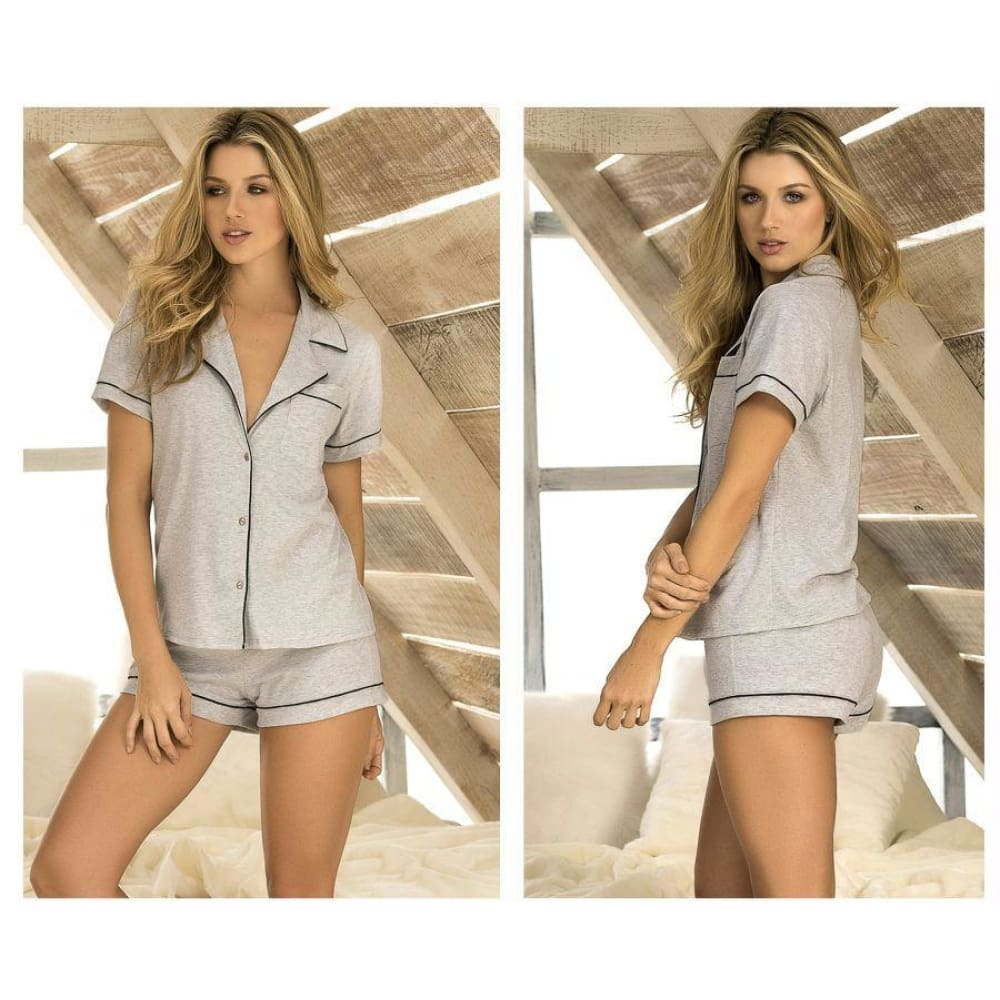 Two Piece Top and Short Set Sleepwear Set - Gray / S - Lingerie